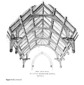 "Dessin de la charpente d'une vieille église anglaise. Tiré de ""Timber in construction"" TRADA Technology Ltd. 1987"