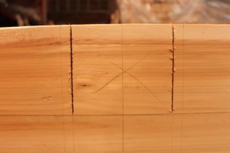 """...jusqu'à ma ligne de centre (pour ôter la moitié du bois, d'ou le nom de """"mi-bois"""")"""